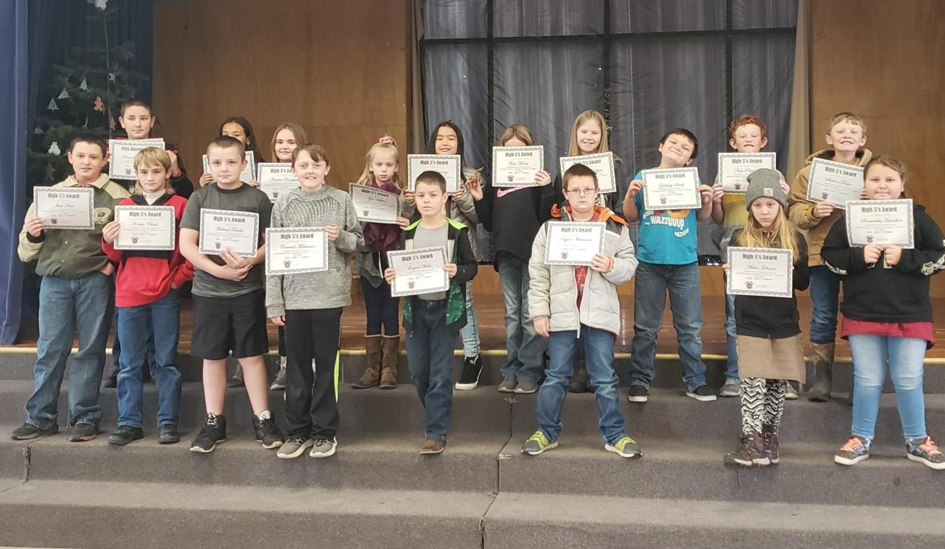 These students received a High 5 Award for earning a C or better in their Core Classes 1st Trimester