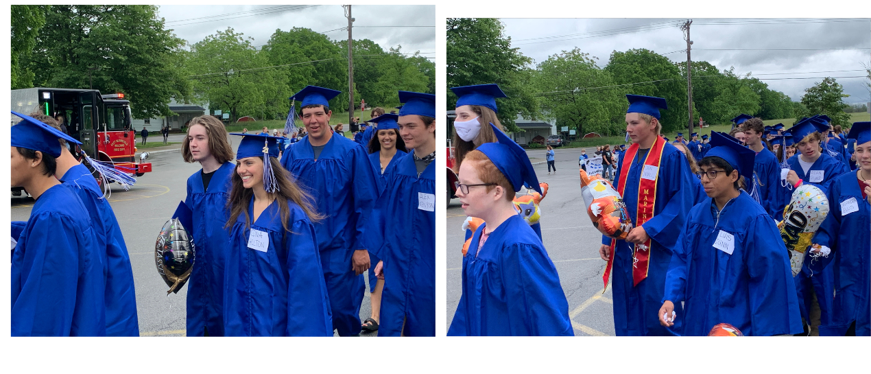 seniors in their cap and gown parading