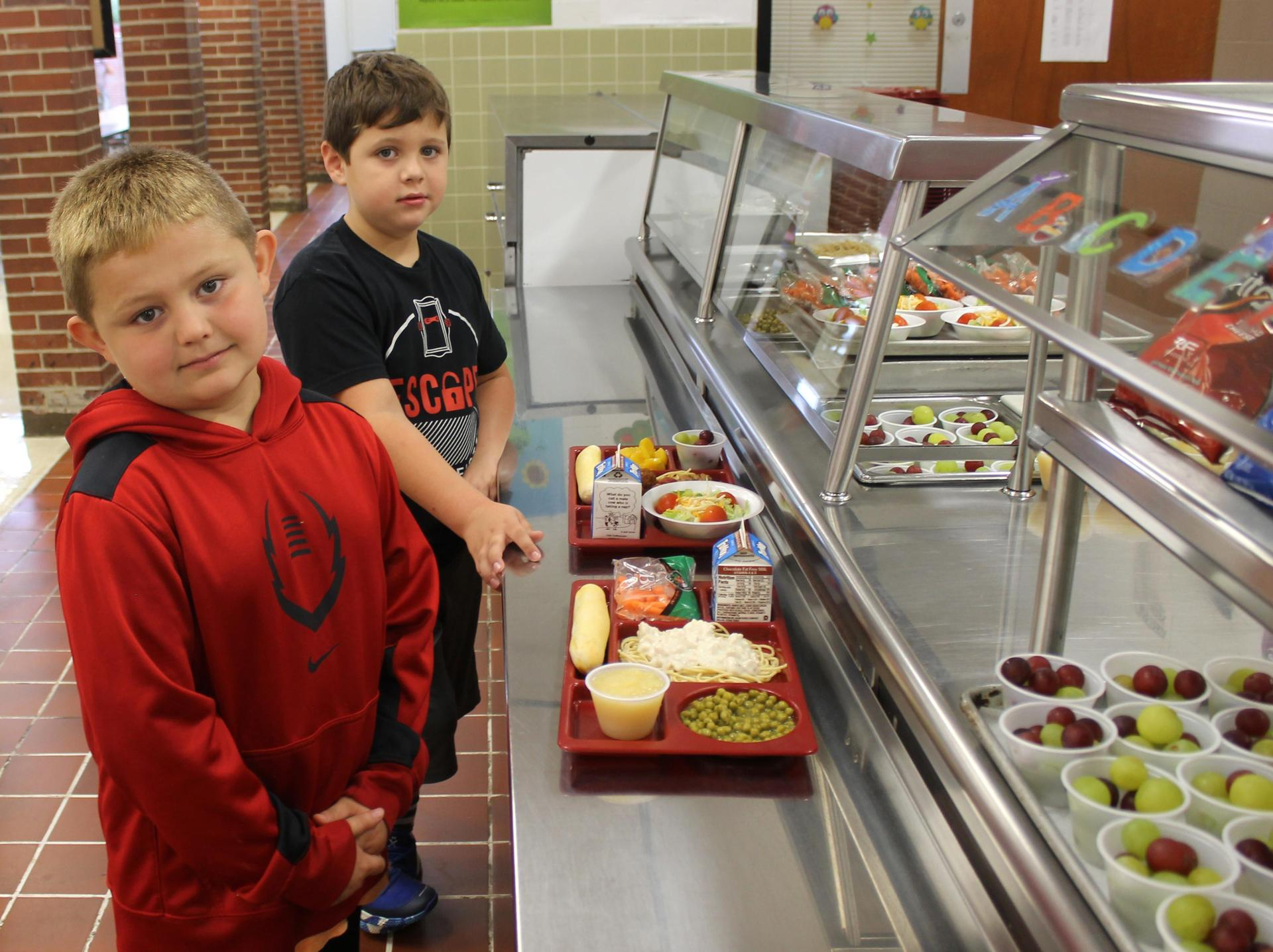 Students go through the lunch line at Ashland City Elementary School.