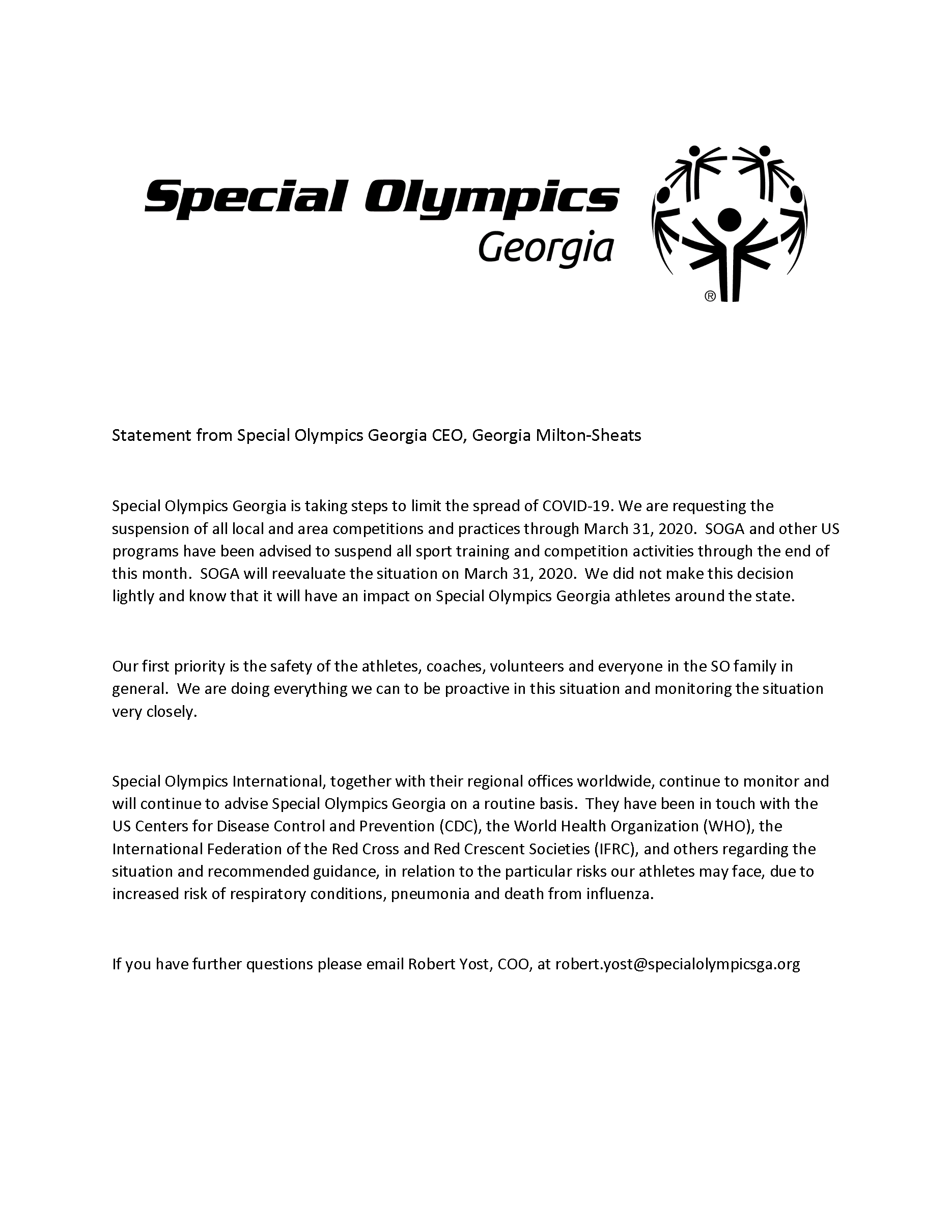 Letter about suspension of special olympics