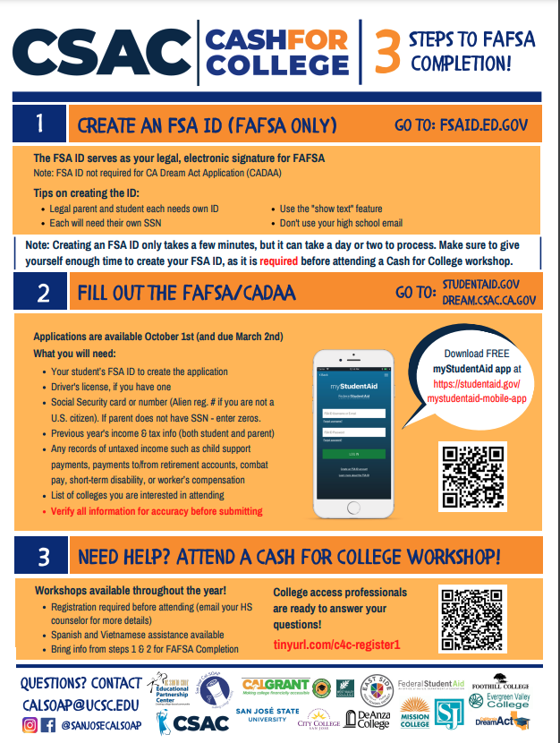 fafsa support from csac english