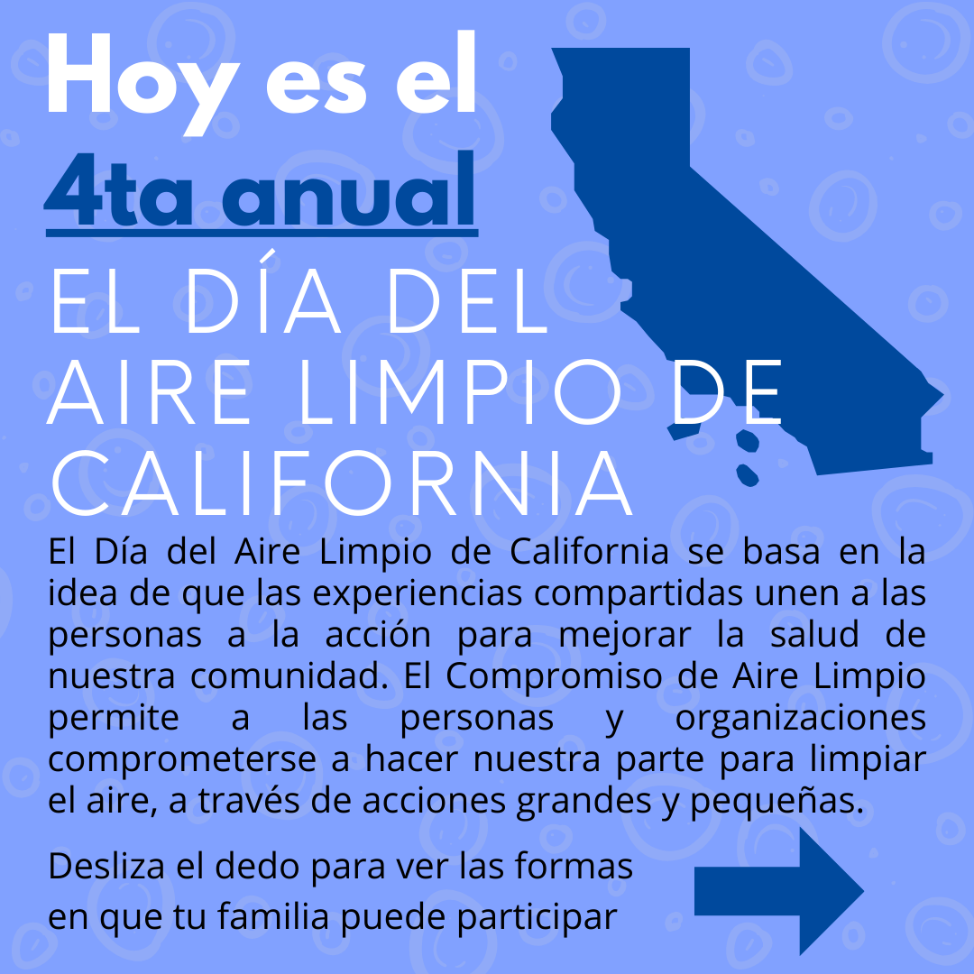 Graphics that explain ways to participate in Califronia clean air day. Same info can be found by clicking website link above.