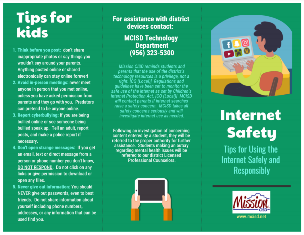 Internet Safety Tips in English page 1