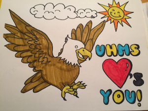 student colored eagle that loves UHMS