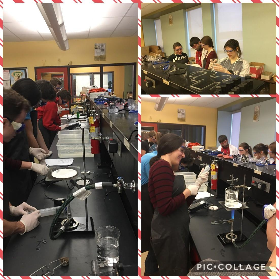 Students complete experiments in Chemistry class