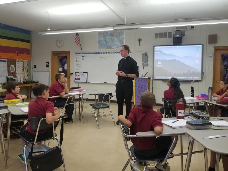 Vocation Director Rev. Joseph D. Delka Visited Saint Olaf Catholic School Featured Photo