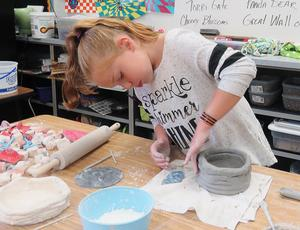Page students made clay ice cream bowls.