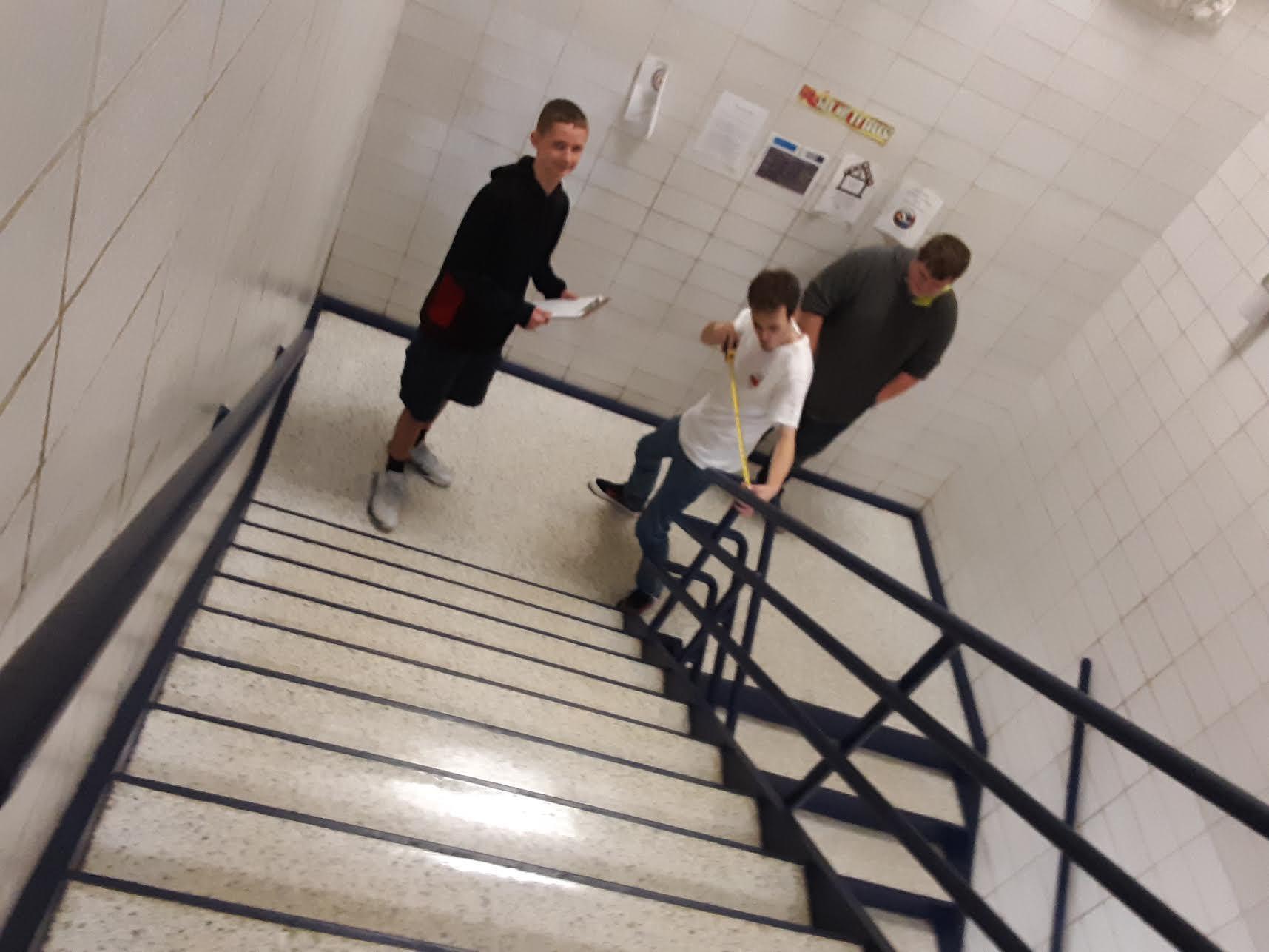 Students measuring indoor steps.