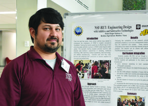 McAllen High teacher Robert Saldana will be a presenter at a national engineering conference in Arlington, Virginia, Oct. 21-23. The last two years, he has undergone training at the Texas A&M Research Experience for Teachers (RET): Enhancing Knowledge and Skills in Engineering and Manufacturing.