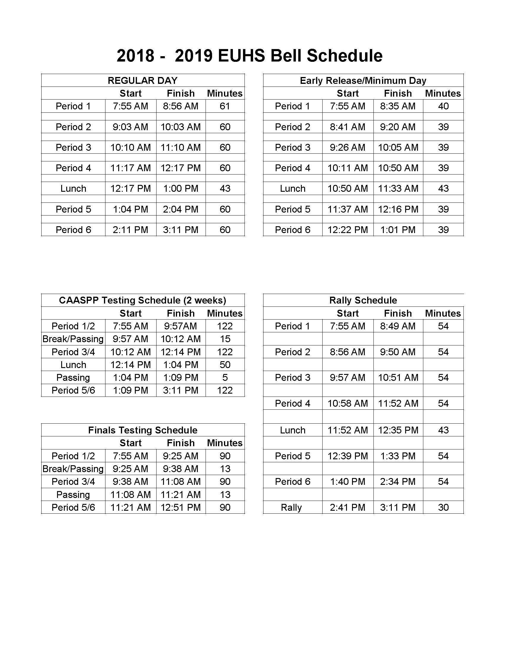 2018-19 EUHS Bell Schedule
