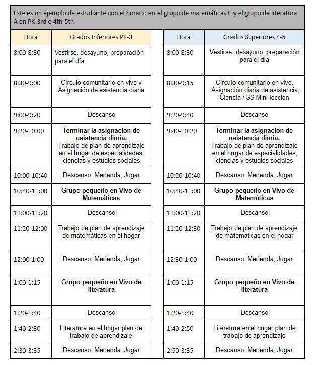 Elementary Schedule 2 - Spanish