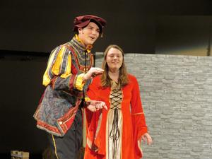 Peter Verstraete and Haley Bovee rehearse a scene and song in