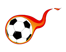 soccer ball with flames coming out of it