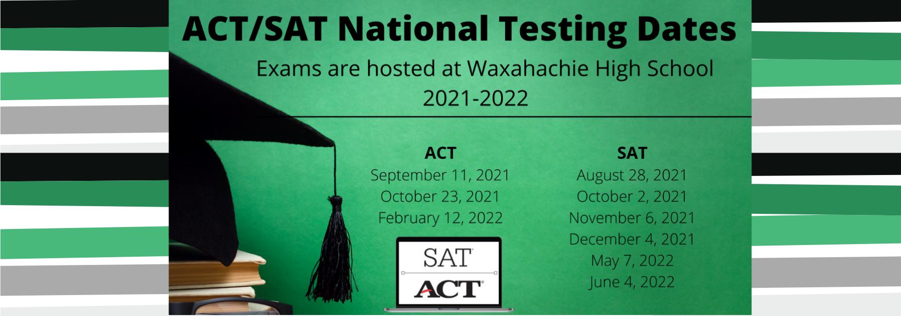 graphic describing SAT & ACT testing dates