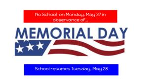 Memorial Day - No School