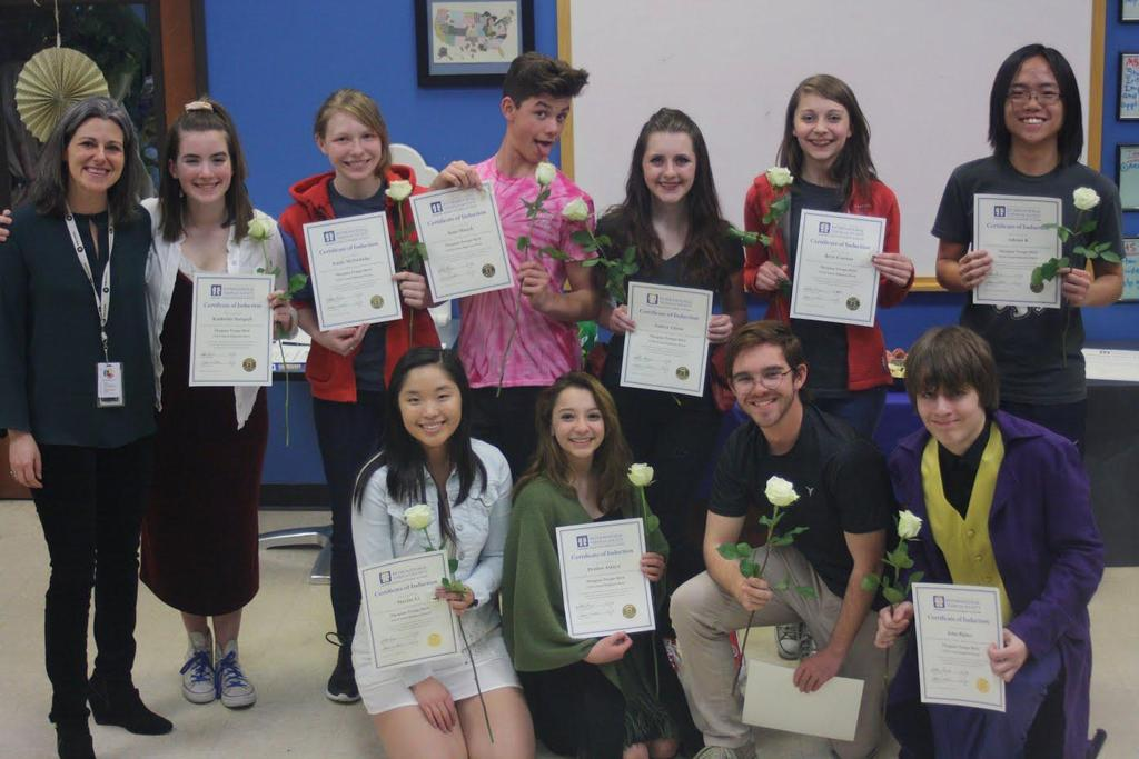 Congratulations to the High Schoolers inducted into the Thespian (Theatre) Society.