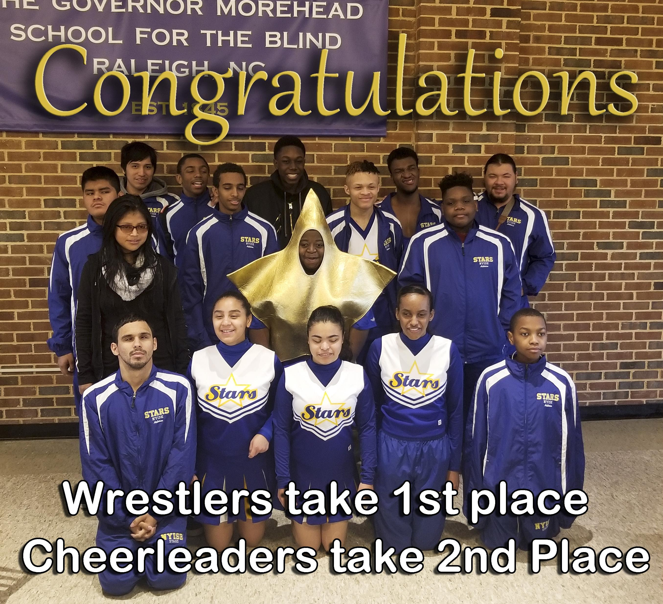 Congratulations to the wrestling and cheerleading teams.