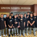 Basketball players serving meals