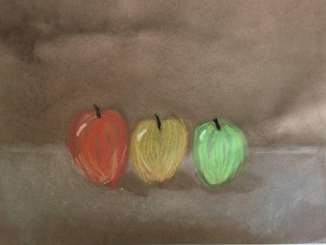 Chalk Pastel Apples- 4th Grade