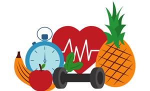 Fruits, timer, and handheld weight