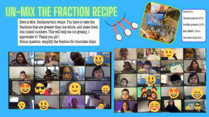 Fraction recipe on zoom collage