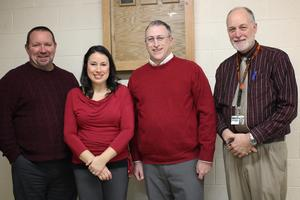 L-R: SAU29 Superintendent Robert Malay, Katelyn Schmidt,     Andrew Bohannon (co-chair Keene High Alumni Fund, Inc.), KHS Principal   James Logan.