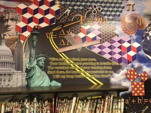mural of statue of liberty and emma lassurus poem