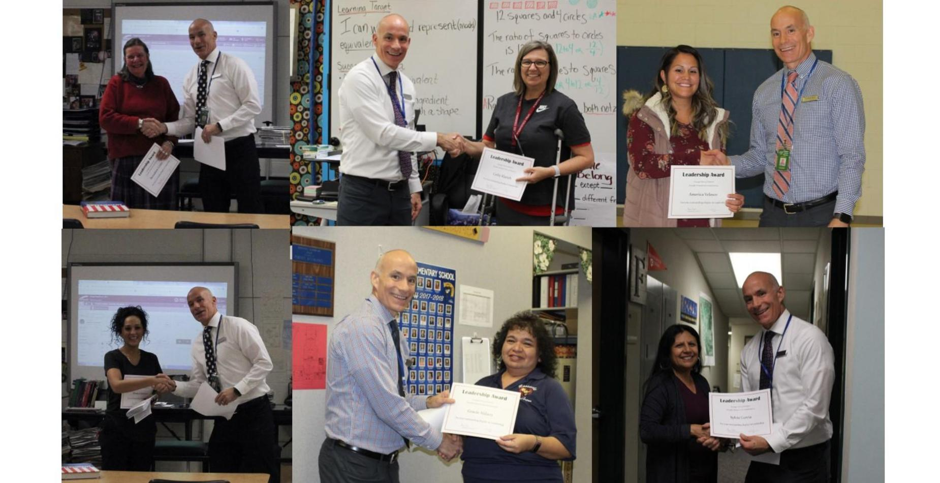 Pictures of Staff being honored for their Leadership Skills