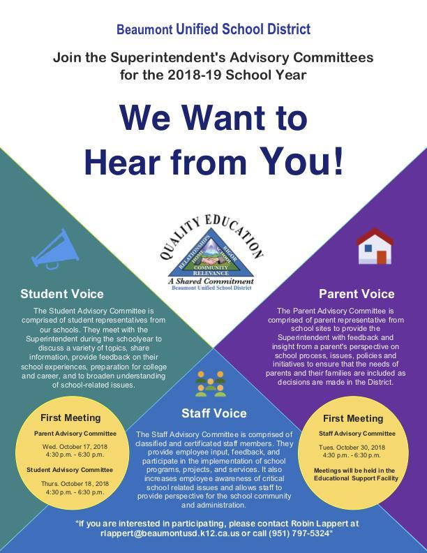 Superintendent Advisory Committees Flyer
