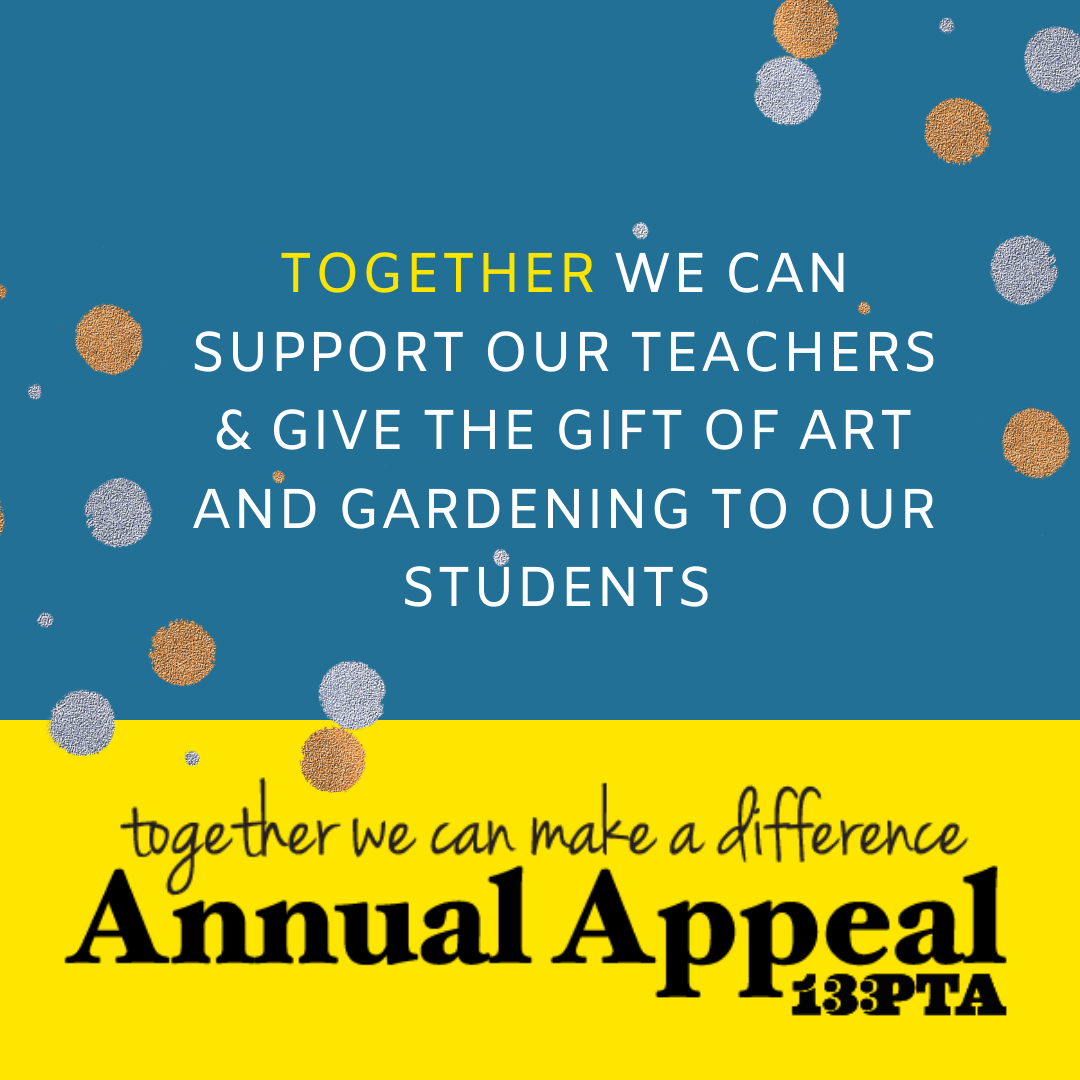 Teal background with yellow annual appeal banner.