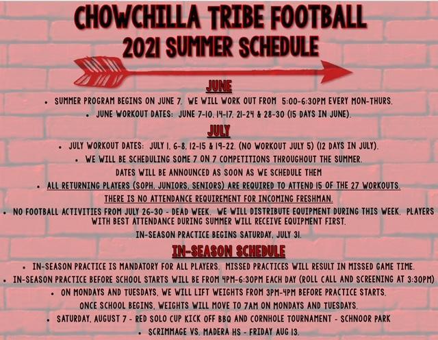 Summer Football Schedule