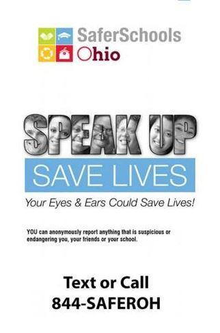 SaferSchools Ohio Tip Line - SPEAK UP SAVE LIVES Featured Photo