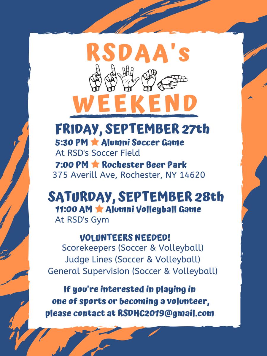 RSDAA 115th Weekend schedule