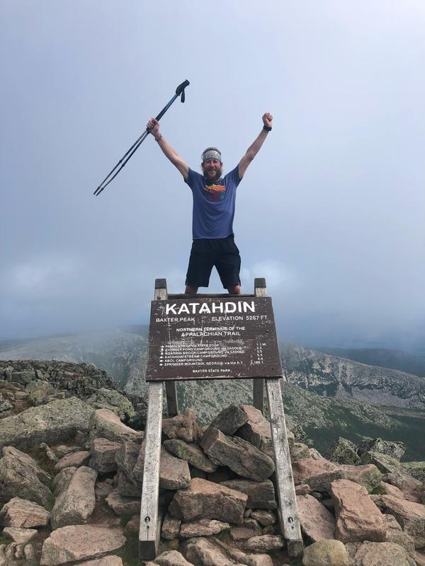 Adam Holsted reaches Katahdin, the northern terminus of the Appalachian Trail.