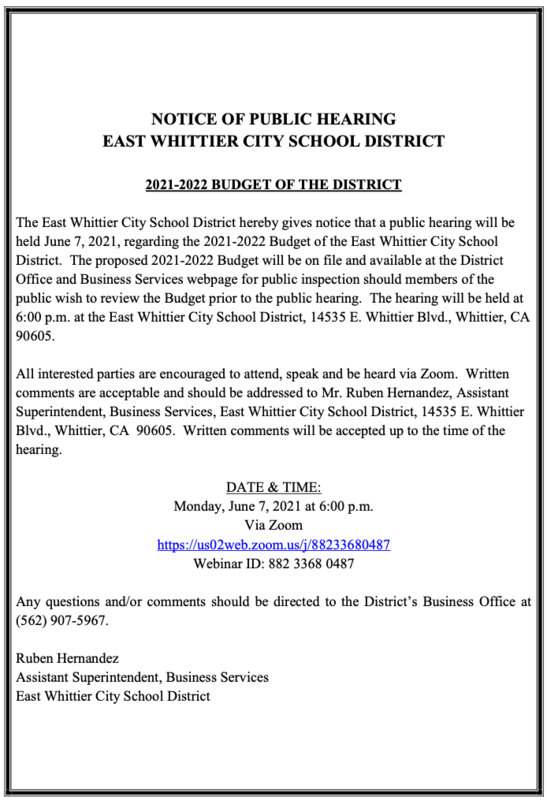 Screenshot of Public Hearing announcement.