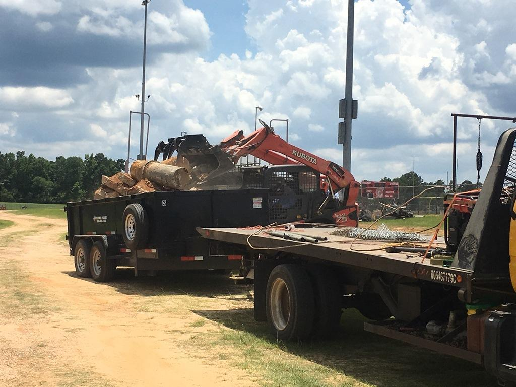 Heavy equipment bringing in foundation pillars