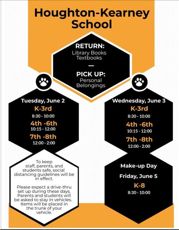 flyer announcing  pick-up times of students' personal belonging