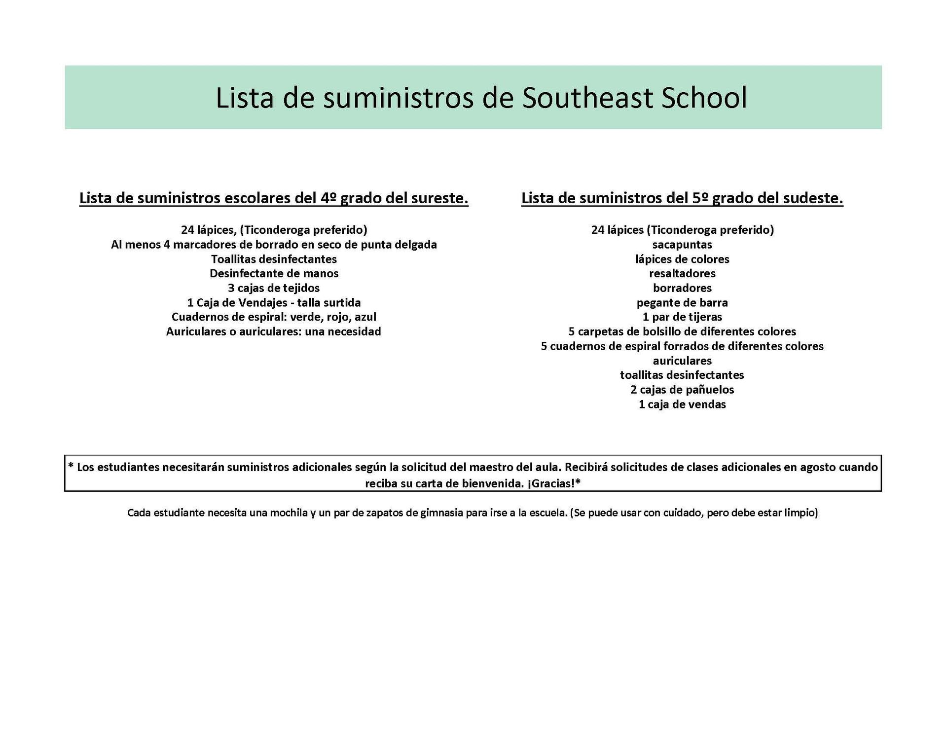 Building school supply list Spanish