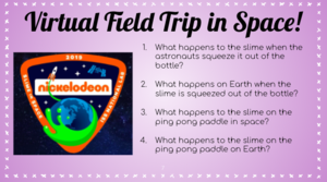 Virtual Field Trip to space question list