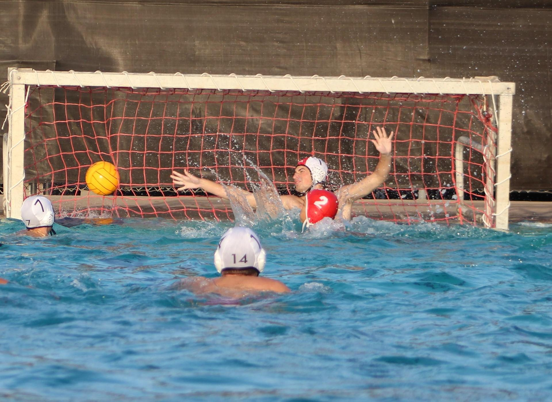 Boys water polo playing against kerman
