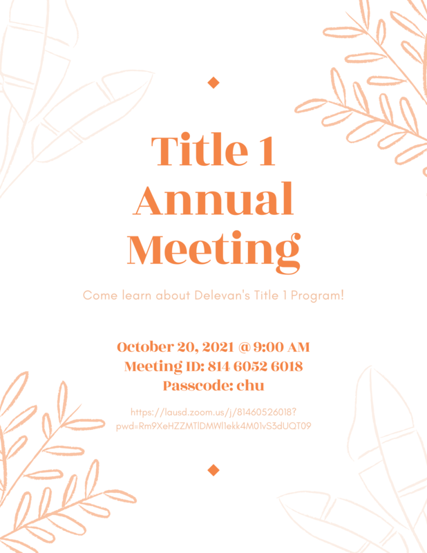 Annual Title 1 Meeting:  Oct. 20 @ 9:00 a.m. Featured Photo