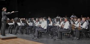 Photo of the LJH band being conducted by LJH Band Director Suzanne Beavers