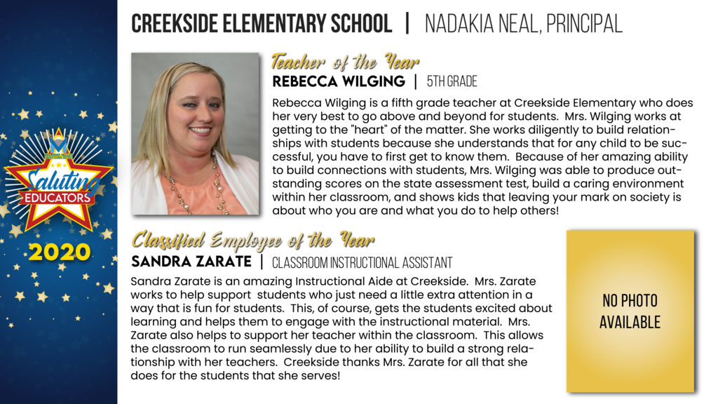 Creekside Elementary Employees of the Year