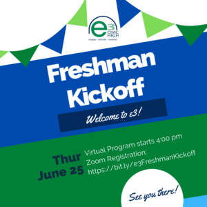 Freshman Kickoff: Thursday, June 25 at 4:00 pm