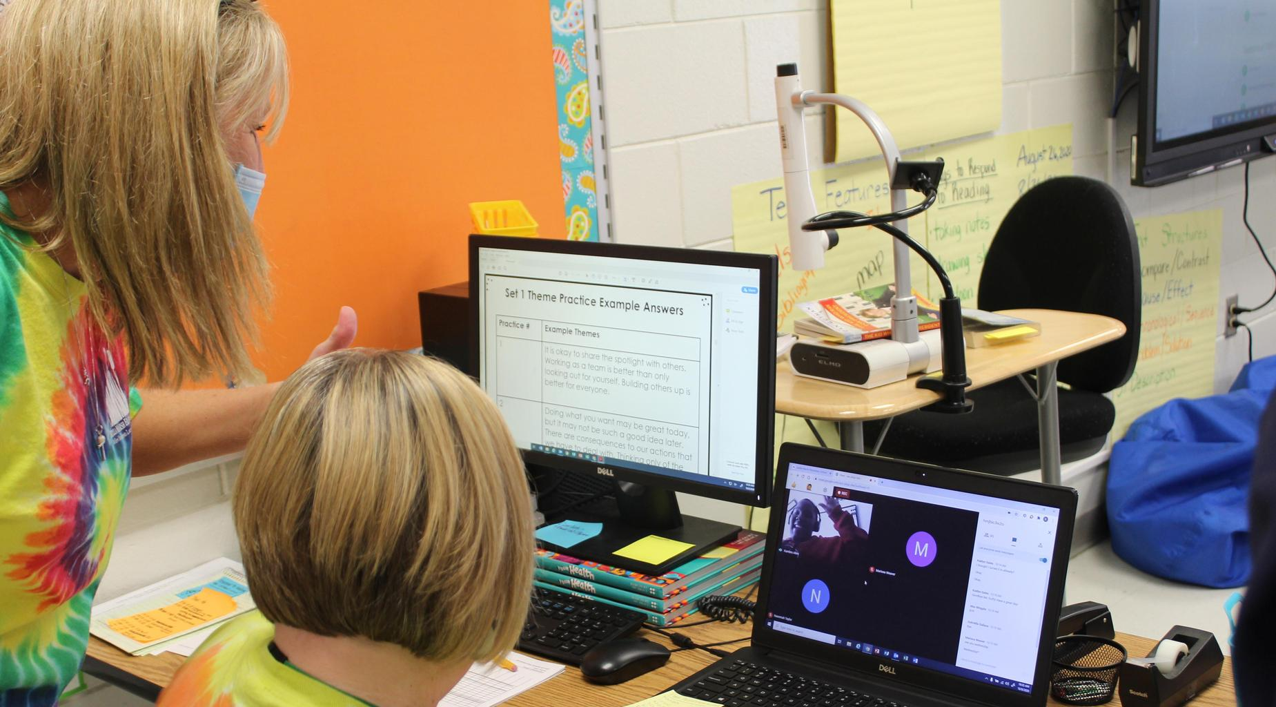 Satilla Marsh Elementary Principal Tere Miller interacts with a virtual student during a live class.