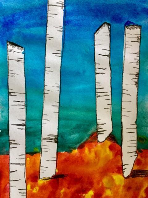 Watercolor Fall Trees- 3rd Grade