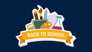 the image is a back to school clipart graphic on a dark blue background. the words Back To School are in white on a yellow scroll. behind the scroll are items like paintbrushes, a calculator, a beaker, and a pencil and notebook.