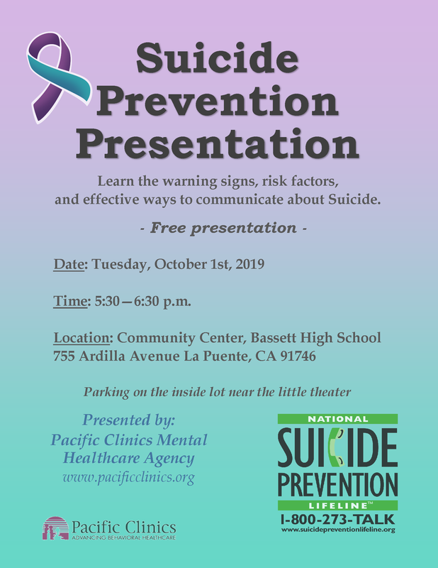 flyer for Suicide Prevention Presentation.
