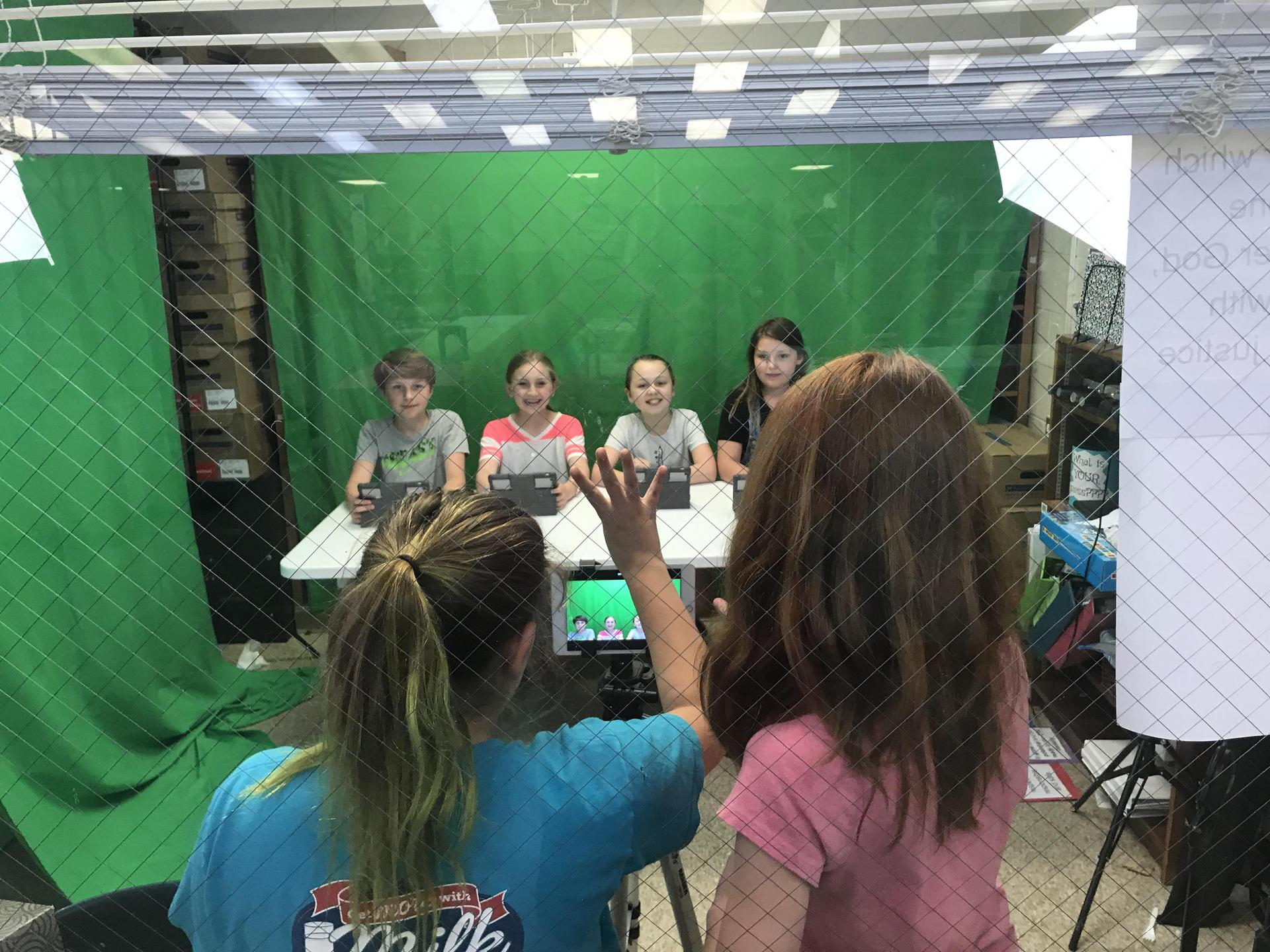Image of students recording morning announcements