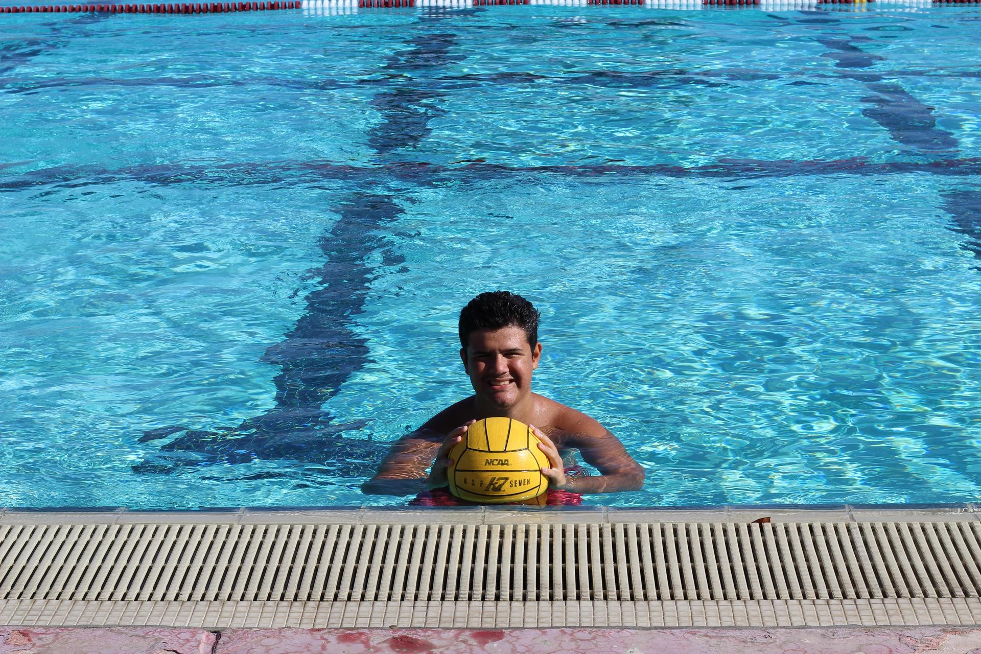 Boys water polo senior posing